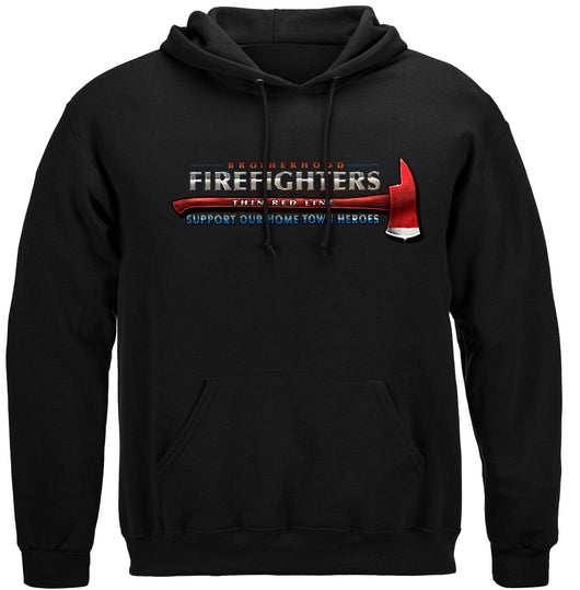 Firefighter Thin Red Line Flag Patriotic Hooded Sweatshirt