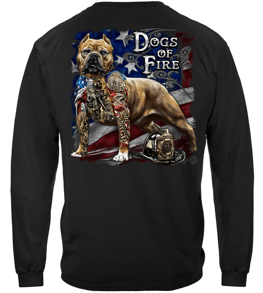Firefighter Pit Bull Dog Tattoo American Flag Long Sleeves
