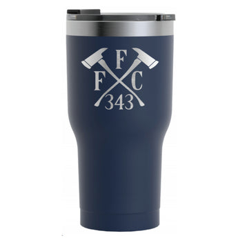 FFC 343 Firefighter Crossed Axes Engraved RTIC Tumbler in Matte Navy