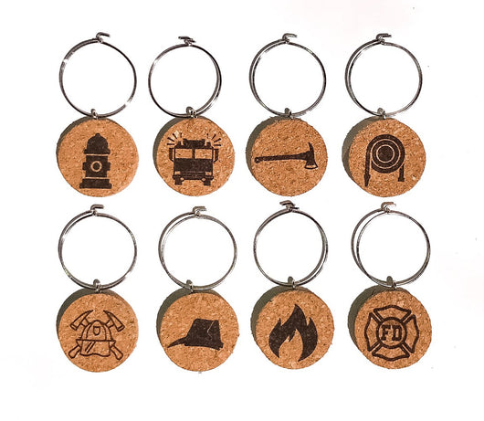 Firefighter Wine Glass Charms- Set of 8