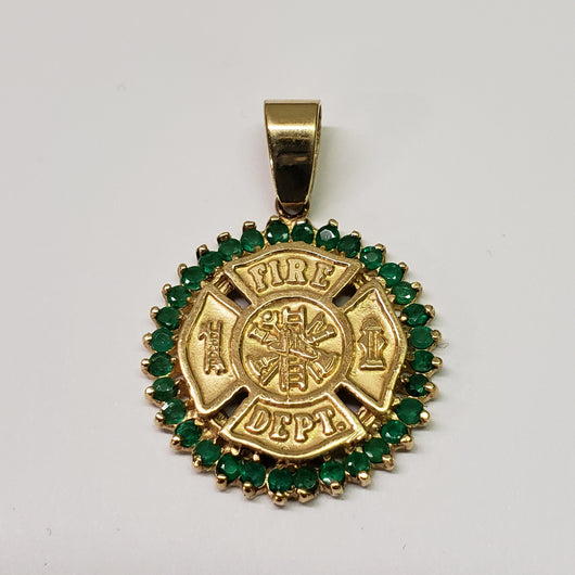 Fire Dept Maltese Solid 14k Gold Charm with Emeralds Firefighter Gifts