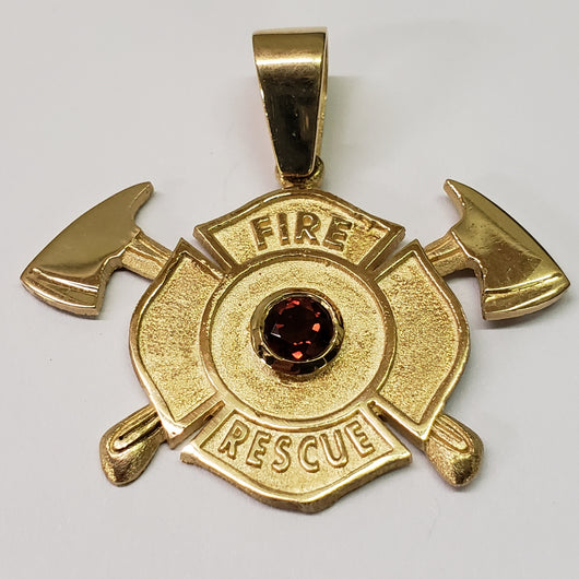 Fire Rescue Garnet Maltese Charm Firefighter Gifts