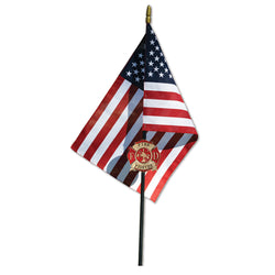 American Flag with Firefighter Maltese Service Marker