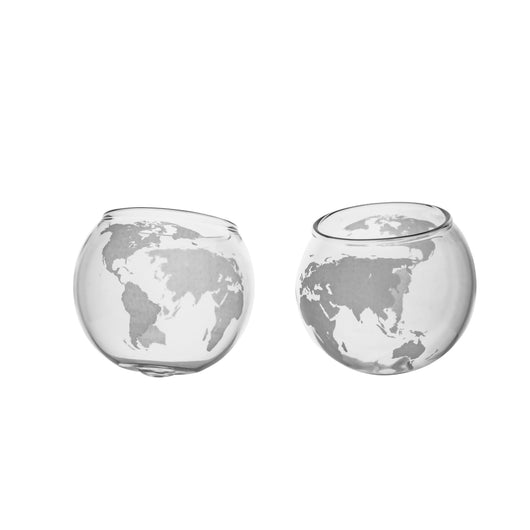 Globe Spinning Whiskey Glasses