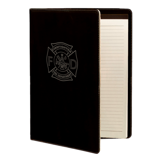 Firefighter Maltese Leatherette Padfolio with Notepad