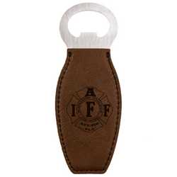 IAFF Magnetic Dark Brown Leatherette Bottle Opener