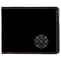 Black Leatherette Fire Rescue Bifold Wallet