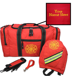 Customized Firefighter Gear Bag SCBA and Strap Package in Red