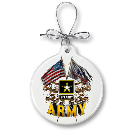ARMY DOUBLE FLAG US ARMY Ornament