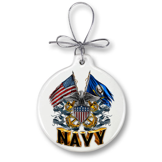 DOUBLE FLAG EAGLE NAVY SHIELD Ornament