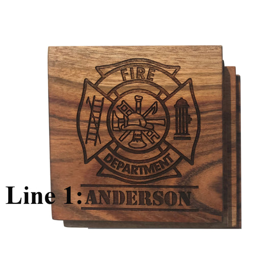 Personalized Firefighter Coasters
