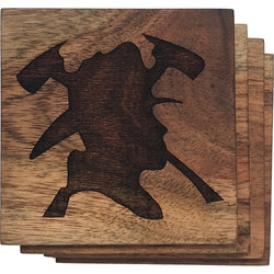 Firefighter Silhouette Solid Wood Coasters- Set of 4