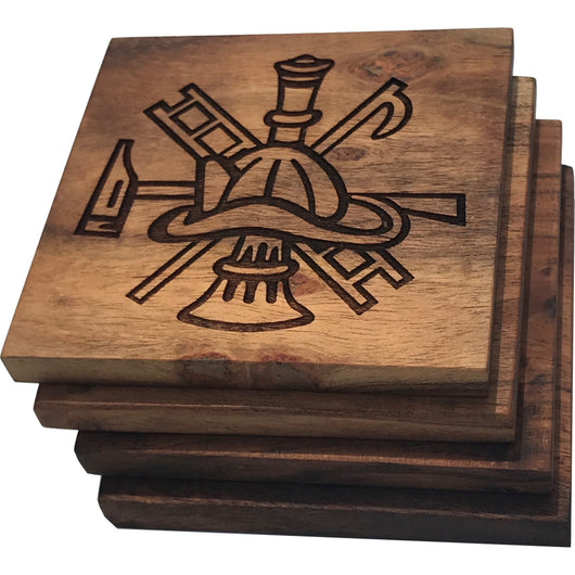 Firefighter Scramble Solid Wood Coasters- Set of 4