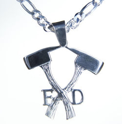 Silver Crossed Axes Fire Department Charm