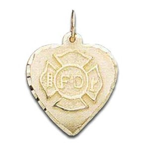 Fire Department Maltese Heart Charm