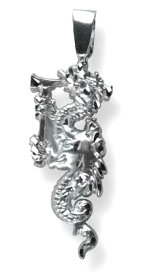 Silver Firefighting Dragon Charm