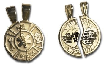 Gold Fire Rescue Mizpah Coin Charm