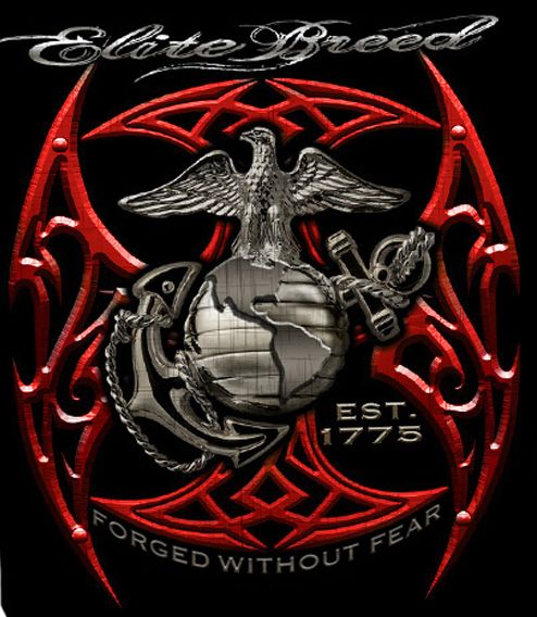 USMC Red Blades Foil Design T-shirt
