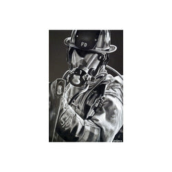 Black and White Firefighter Axe Print
