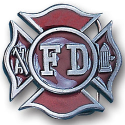 Firemans Cross Enameled Belt Buckle