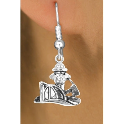 Firemans Axe Helmet & Hydrant Earrings