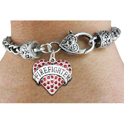 Red Crystal Firefighter Heart Charm Bracelet