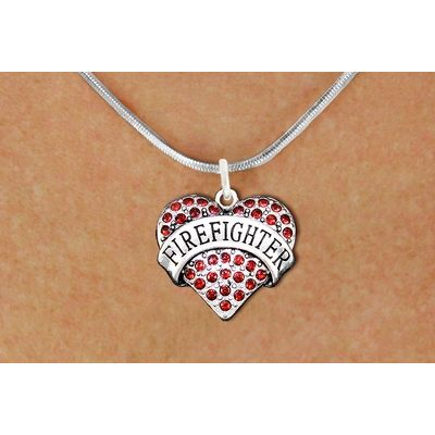 Red Crystal Firefighter Heart Charm Necklace