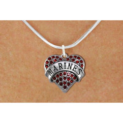 Marines Red Heart Necklace