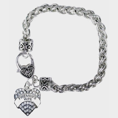 Firemans Wife Heart Bracelet