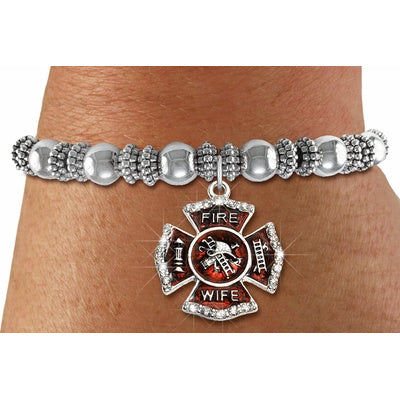 69f51ec7e0a09 Firefighter Wife Beaded Charm Bracelet