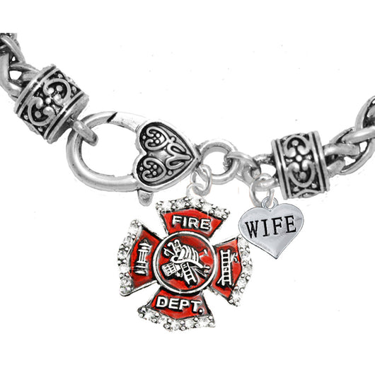 Firefighter Wife Heart Charm Bracelet