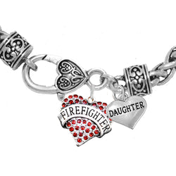 Firefighter Daughter Crystal Heart Charm Bracelet