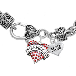 Firefighter Mom Crystal Heart Charm Bracelet
