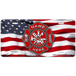 Custom Fire Dept Flag License Plate