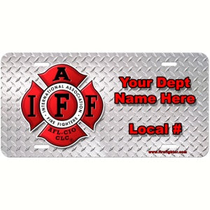 Personalized IAFF Diamond Plate License Plate