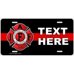 IAFF Custom Thin Red Line Lic Plate