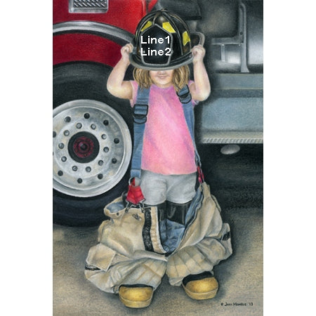 Personalized Little Girl Firefighter Print