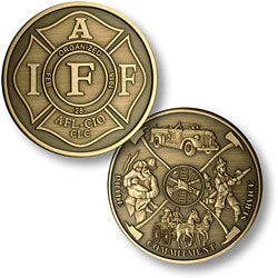 Bronze Antique IAFF Firemans Theme Coin