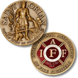 Bronze Antique with Enamel IAFF St Florian  Coin