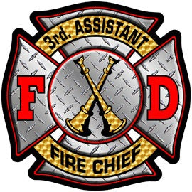 3rd Assistant Chief Diamond Plate Decal