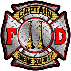 Captain Engine Co Diamond Plate Decal