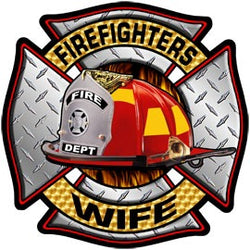 Firefighters Wife Diamond Plate Decal
