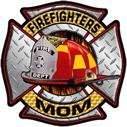 Firefighters Mom Diamond Plate Decal
