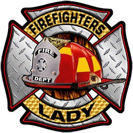 Firefighters Lady Diamond Plate Decal