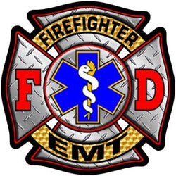 Firefighter/EMT Diamond Plate Maltese Decal