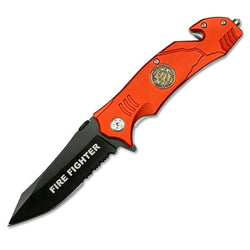 Red Fire Rescue Folding Knife