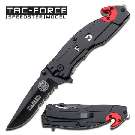 All Black Fire Fighter Spring Assisted Knife