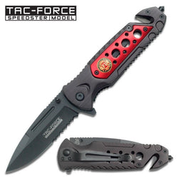 Firefighter Serrated Black Knife