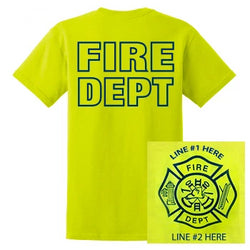 Fire Dept Safety Yellow Custom Shirt