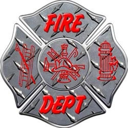 Fire Dept  Diamond Plate Maltese Decal